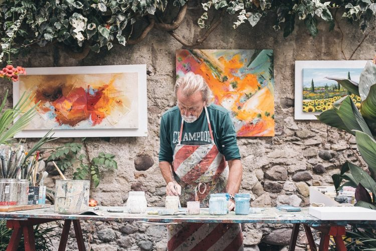 Painter: Artist busy on his creative work